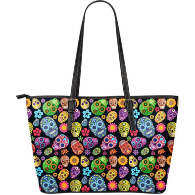 Sugar Skulls Large Leather Tote Bag - AroMama Essentials