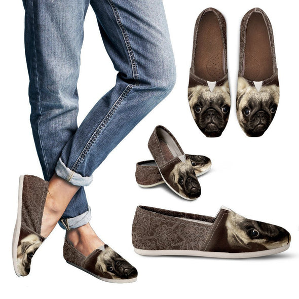 Women's Brown Pug Casual Shoes - AroMama Essentials