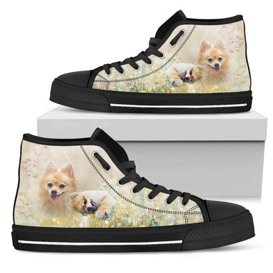 Women's Lovely Pomeranian High Top Shoes - AroMama Essentials