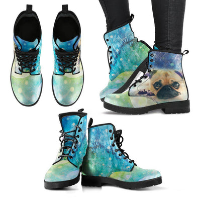 Women's Colorful Pug Leather Boots - AroMama Essentials