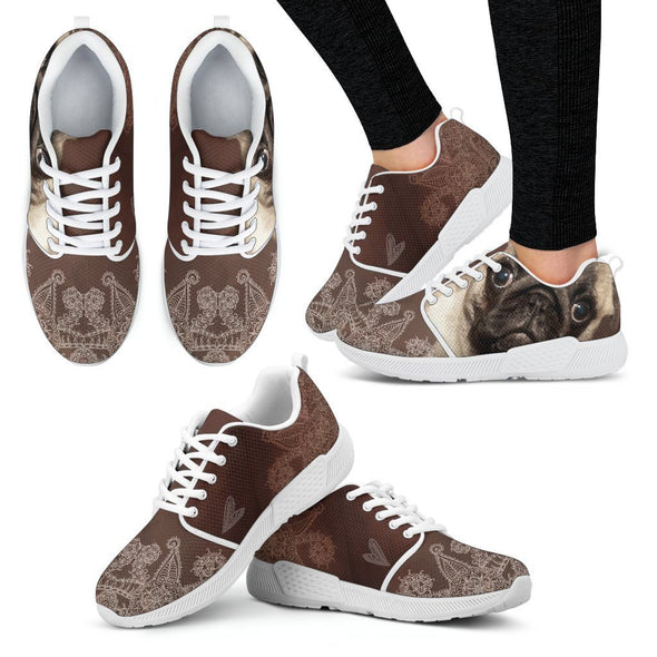 Women's Brown Pug Athletic Sneakers - AroMama Essentials