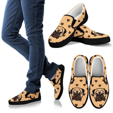 Women's Cute Pug Slip-Ons - AroMama Essentials