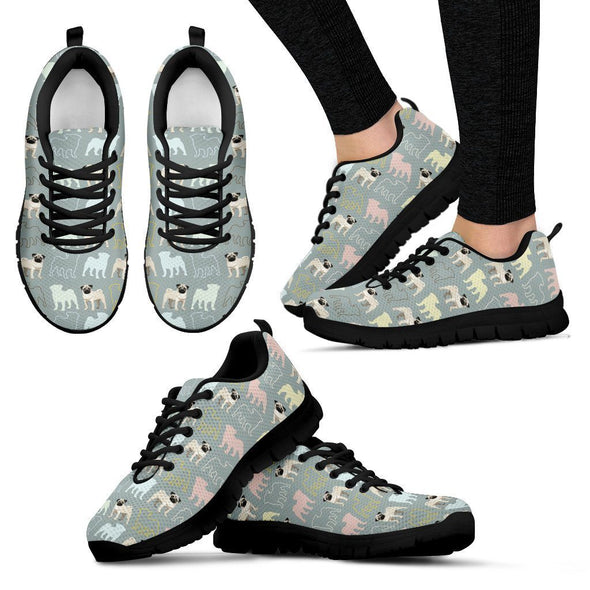 Women's Pug Lovers Pattern Sneakers - AroMama Essentials