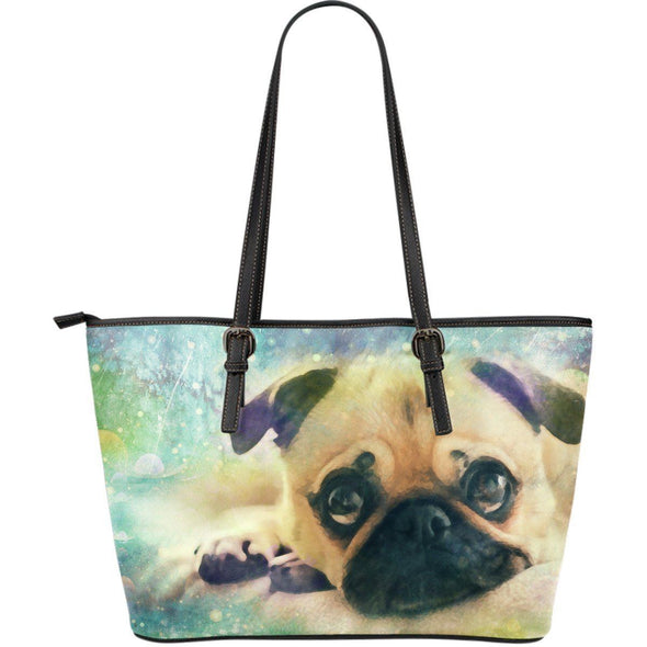 Pug Large Leather Tote Bag - AroMama Essentials