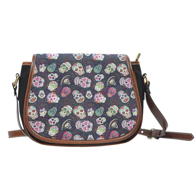 Trendy Sugar Skulls Colorful Leather Trim Saddle Bag - AroMama Essentials