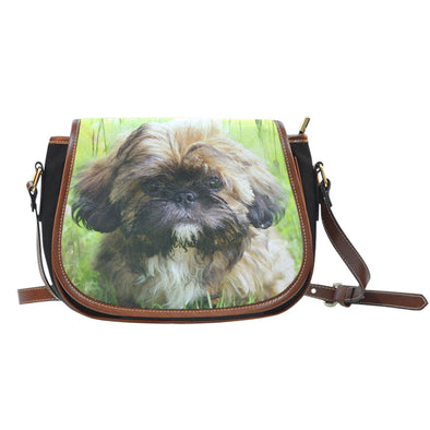 Shih Tzu Lovers Leather Trim Saddle Bag - AroMama Essentials
