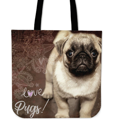 Brown Pug Cloth Tote Bag - AroMama Essentials