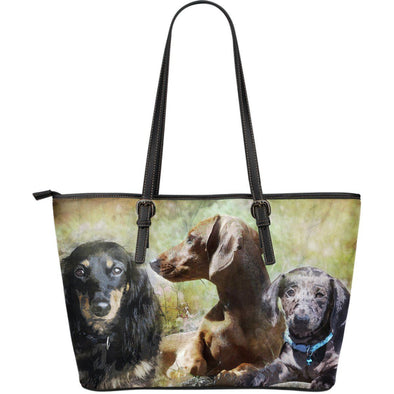 Dachshund Large Leather Tote Bag - AroMama Essentials