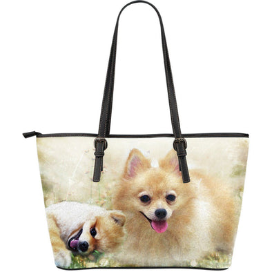 Lovely Pomeranian Large Leather Tote Bag - AroMama Essentials