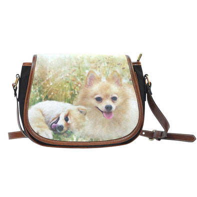 Lovely Pomeranian Leather Trim Saddle Bag - AroMama Essentials