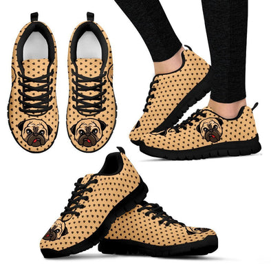 Women's Cute Pug Sneakers - AroMama Essentials