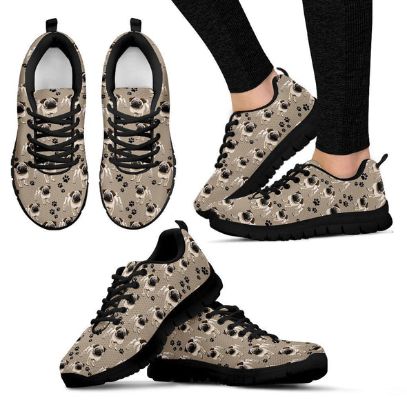 Women's Cute Pug Pattern Sneakers - AroMama Essentials