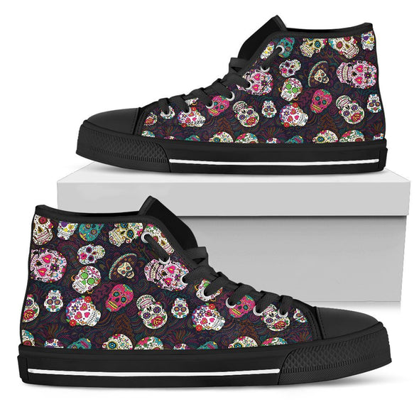 Women's Trendy Sugar Skulls Colorful High Top Shoes - AroMama Essentials