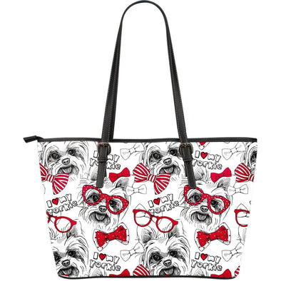 Yorkshire Terrier Large Leather Tote Bag