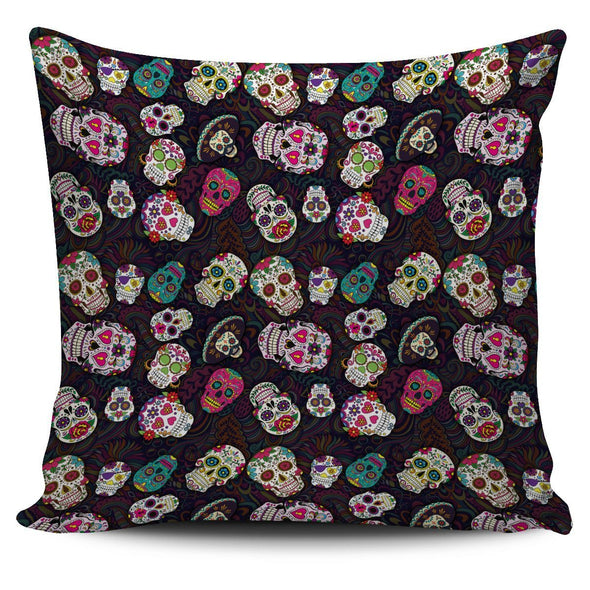 Trendy Sugar Skulls Colorful Throw Pillow Case - AroMama Essentials