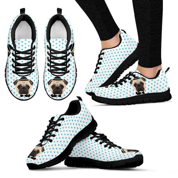 Women's Pug with Blue Hearts Sneakers - AroMama Essentials
