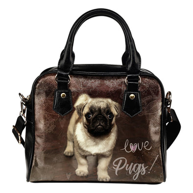 Brown Pug Shoulder Handbag - AroMama Essentials