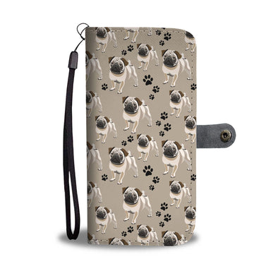 Cute Pug Pattern Wallet Phone Case - AroMama Essentials