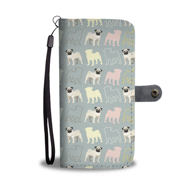 Pug Lovers Pattern Wallet Phone Case