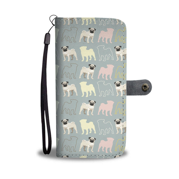 Pug Lovers Pattern Wallet Phone Case - AroMama Essentials
