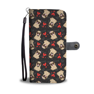 Pug Lovers Pattern with Hearts Wallet Phone Case
