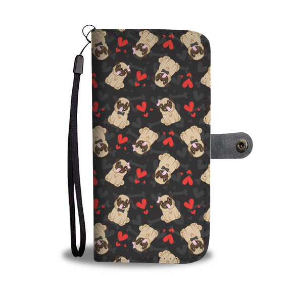 Pug Lovers Pattern with Hearts Wallet Phone Case - AroMama Essentials