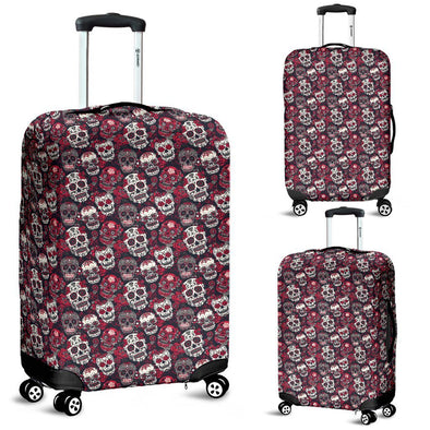 Classic Sugar Skulls Luggage Cover (Red) - AroMama Essentials