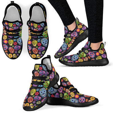 Sugar Skulls Women's Mesh Knit Sneakers