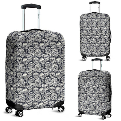 Classic Sugar Skulls Luggage Cover (B&W) - AroMama Essentials