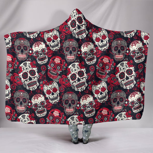 Classic Sugar Skulls Hooded Blanket (Red) - AroMama Essentials