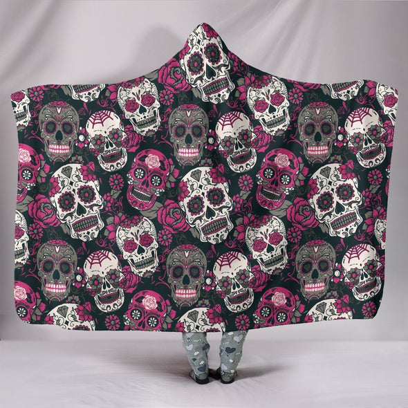 Classic Sugar Skulls Hooded Blanket (Pink) - AroMama Essentials