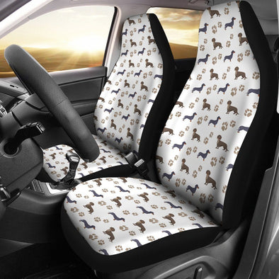 Dachshund Pattern Car Seat Cover (Set of 2) (White) - AroMama Essentials