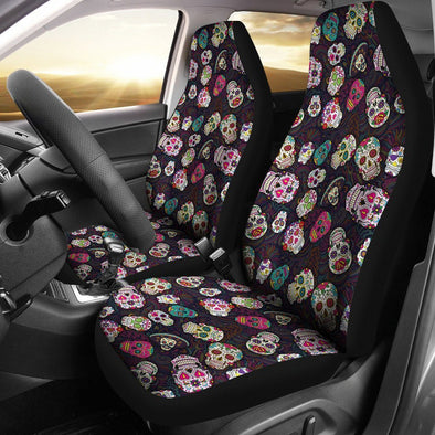 Trendy Sugar Skulls Colorful Car Seat Cover (Set of 2) - AroMama Essentials