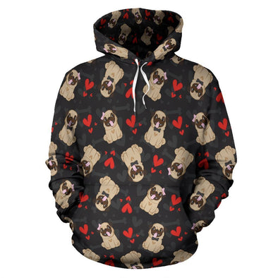 Pug Lovers with Hearts Hoodie - AroMama Essentials
