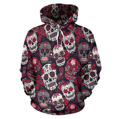 Classic Sugar Skulls Hoodie (Red) - AroMama Essentials