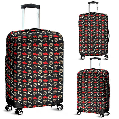 Pug Pattern Luggage Cover (Black) - AroMama Essentials