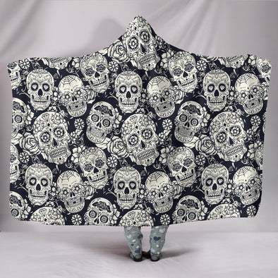 Classic Sugar Skulls Hooded Blanket (B&W) - AroMama Essentials