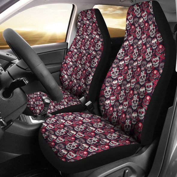 Classic Sugar Skulls Car Seat Cover (Set of 2) (Red) - AroMama Essentials