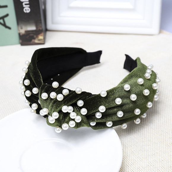 Green Pearls Headband