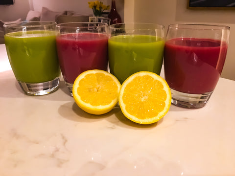 Spring Detox Juices the Green one and Red one