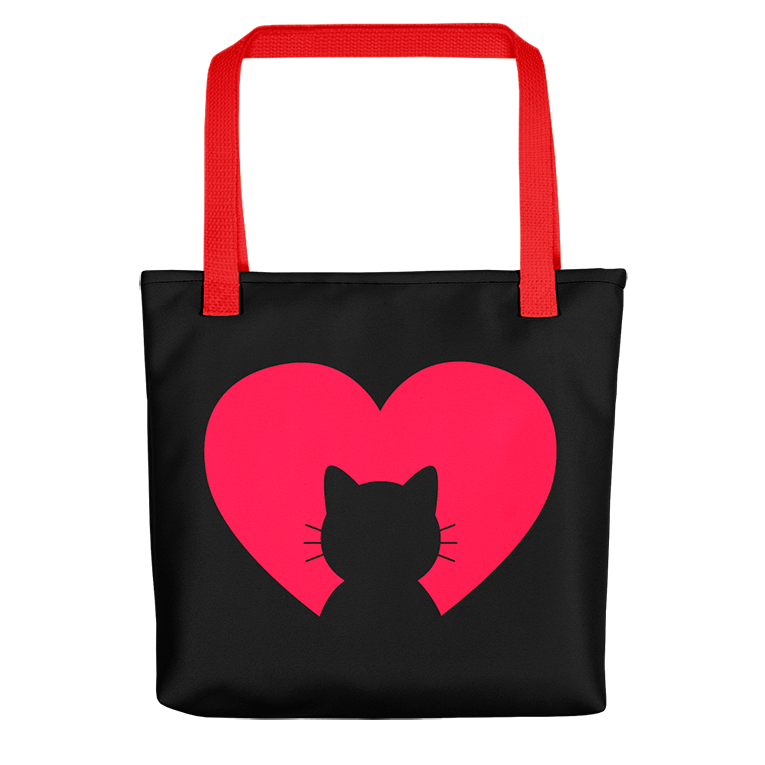 I love my Cat - Black Tote Bag with red straps - Wear Pet