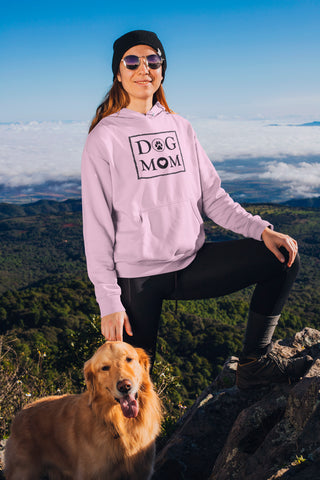 Photo-of-a-woman-hiking-with-her-dog-Pink-Hoodie-WearPet-DOG-MOM
