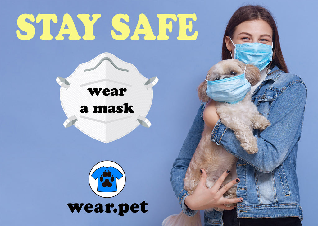 Young Girl wearing a Medical Mask with her Pet - Stay Safe - Wear a Mask - Wear Pet - Covid19 Update - Wear Pet Image