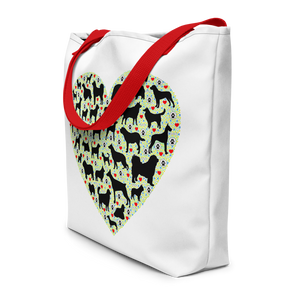 DOGs LOVER - Premium White Beach Bag with Red straps - Wear Pet