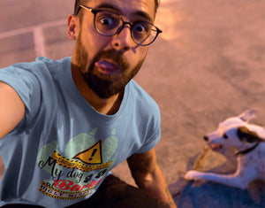 CAUTION My-dog-barks-at-ugly-people-selfie-of-a-dude-wearing-a-tshirt-while-with-his-dog-Wear_Pet-blue-tshirt