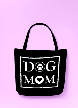 DOG MOM - Black Tote Bag (white letters) -- Wear Pet