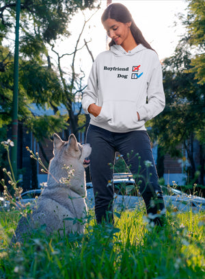 NO-Boyfriend-Dog-1-Collection--Photo-of-a-woman-looking-at-her-dog--White-Pullover-Hoodie---Wear-Pet