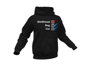 NO Boyfriend - Dog 1 - Cat 1 -- Collection -- Black Pullover Hoodie --- Wear Pet