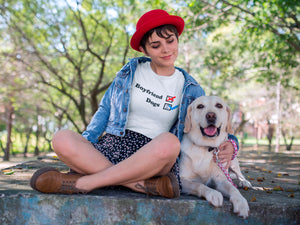 NO Boyfriend - Dogs 2 -- Photo-of-a-girl-at-the-park-with-her-dog-wearing-a-white-tshirt---Wear-Pet
