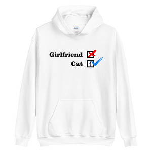NO Girfriend - Cat 1 -- Collection - White Unisex Pullover Hoodie --- Wear Pet